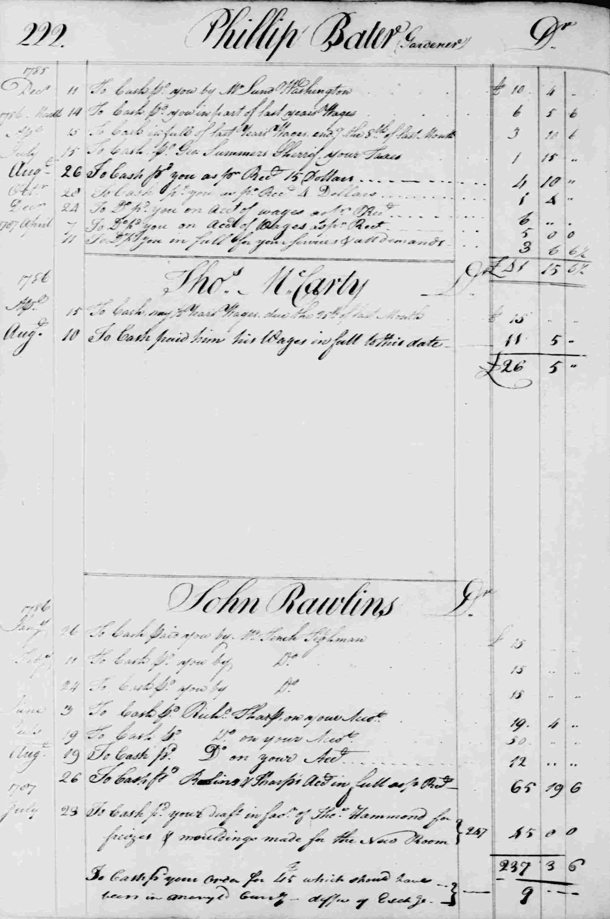 Ledger B, folio 222, left side