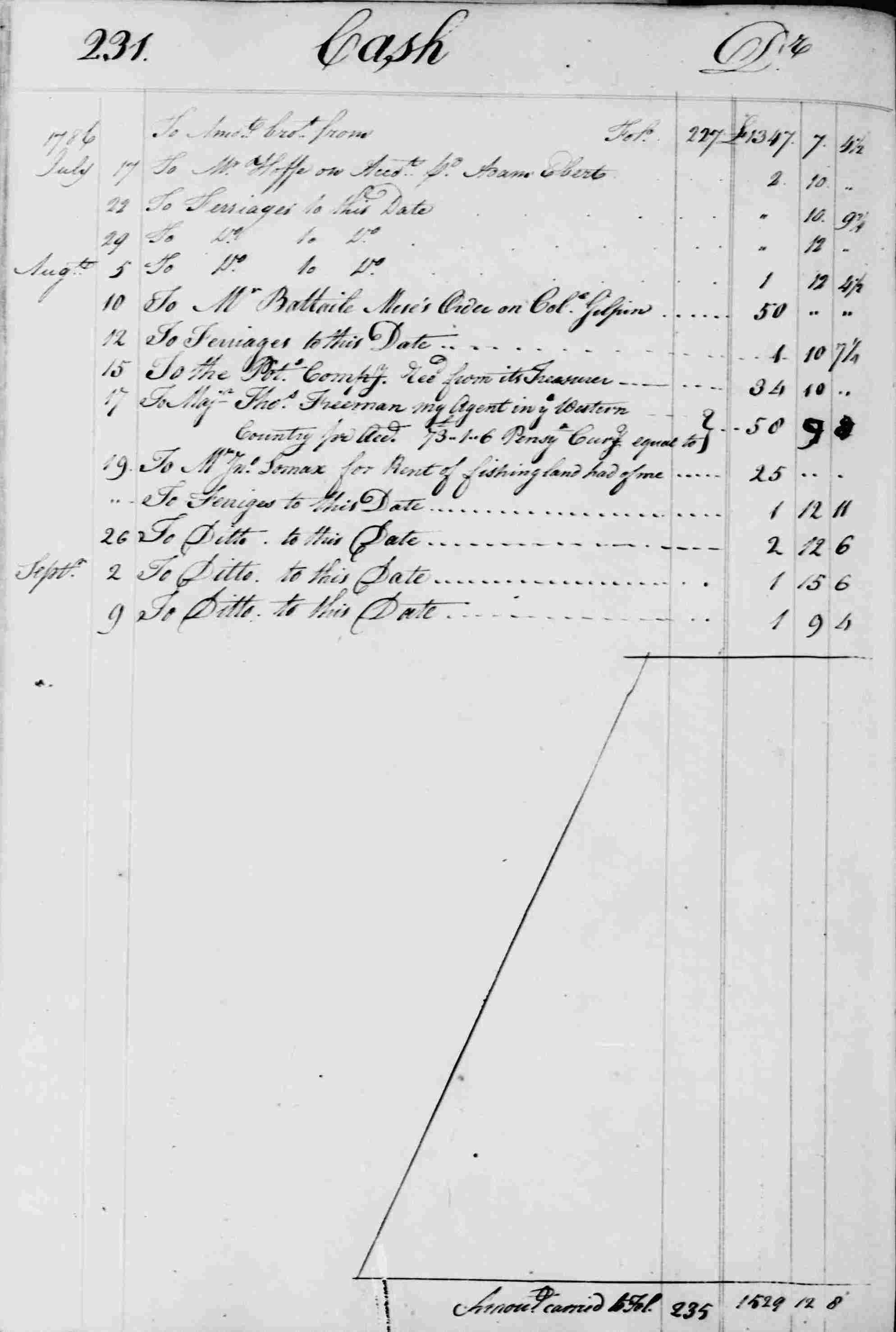 Ledger B, folio 231, left side