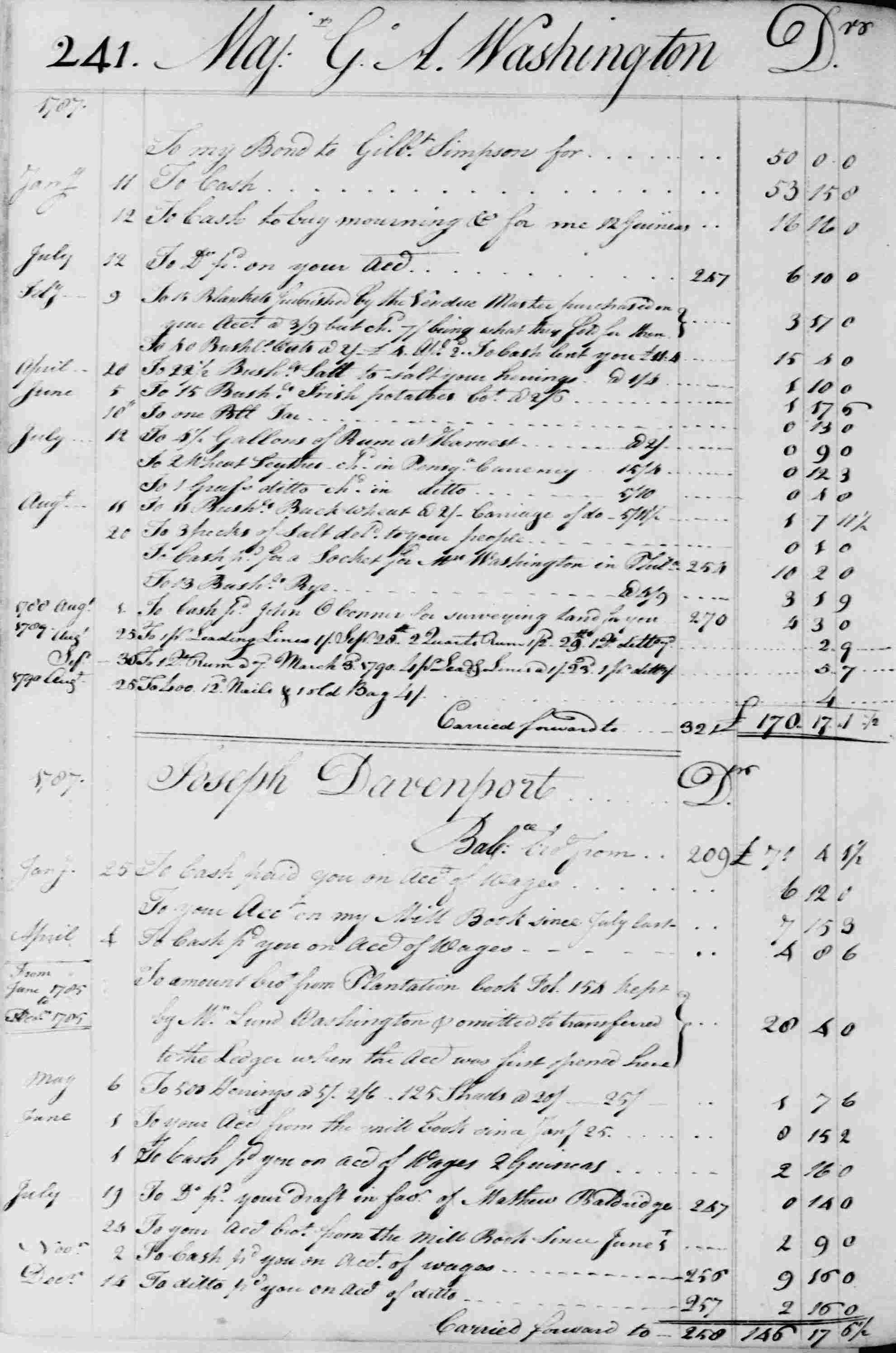 Ledger B, folio 241, left side