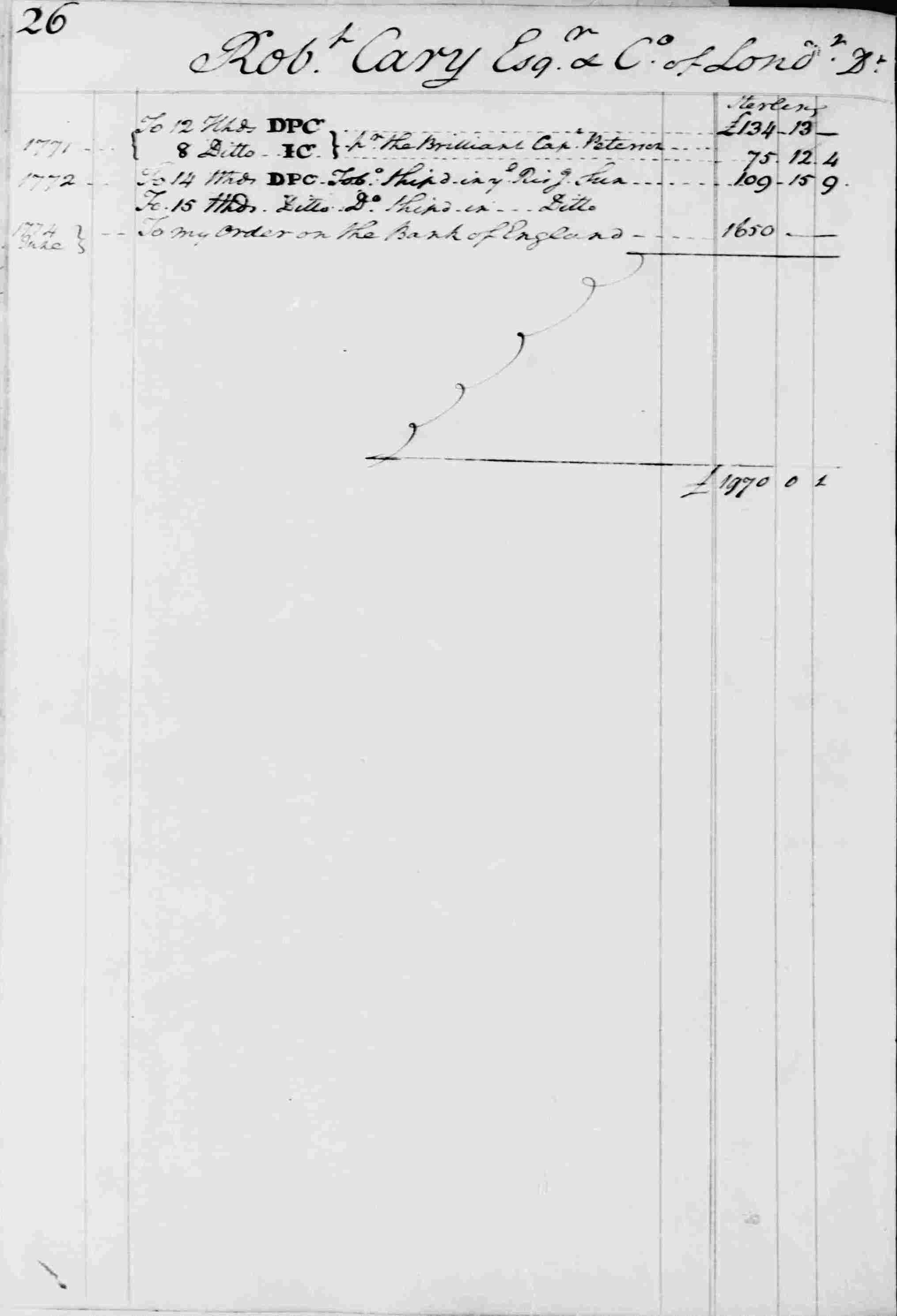 Ledger B, folio 26, left side