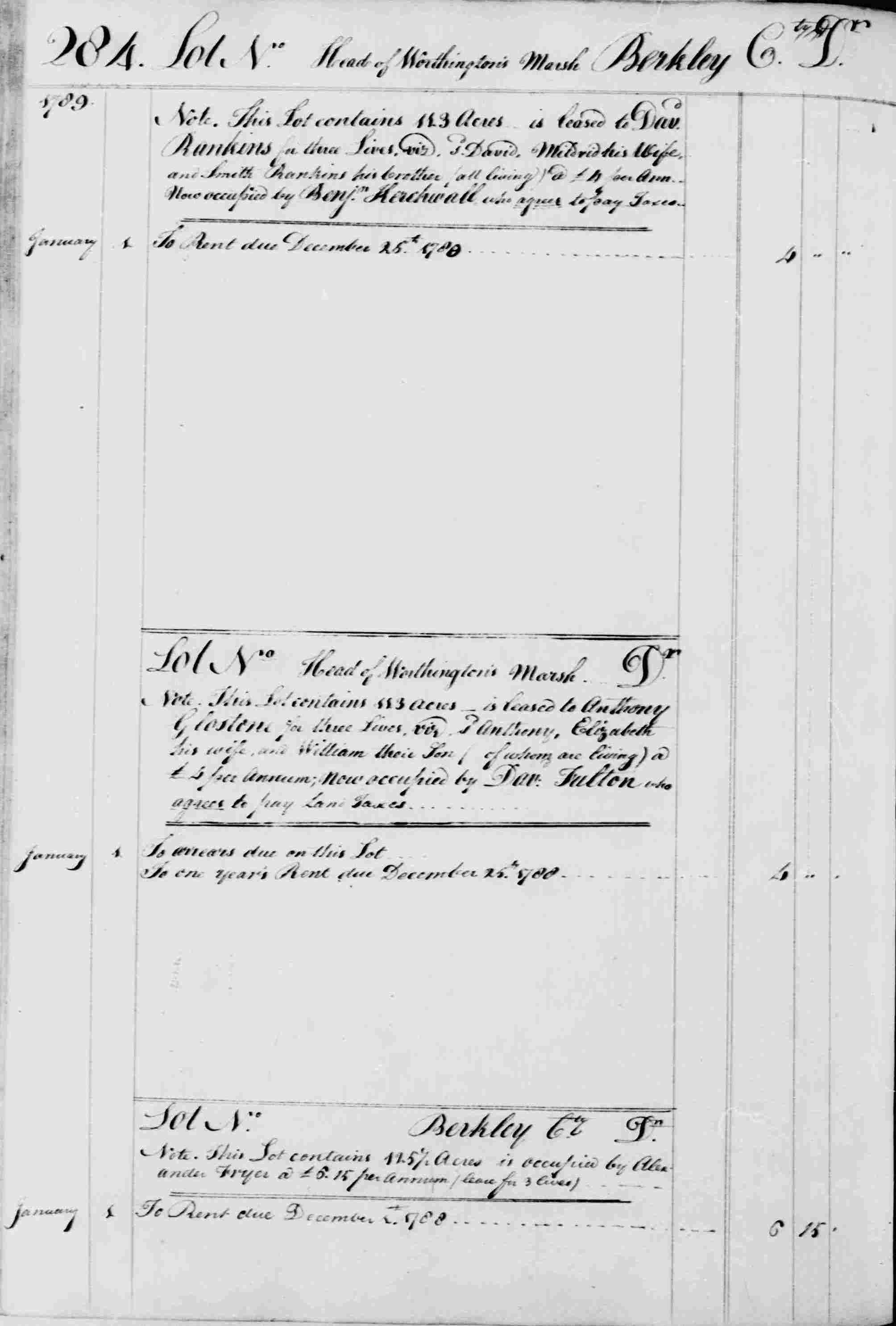 Ledger B, folio 284, left side