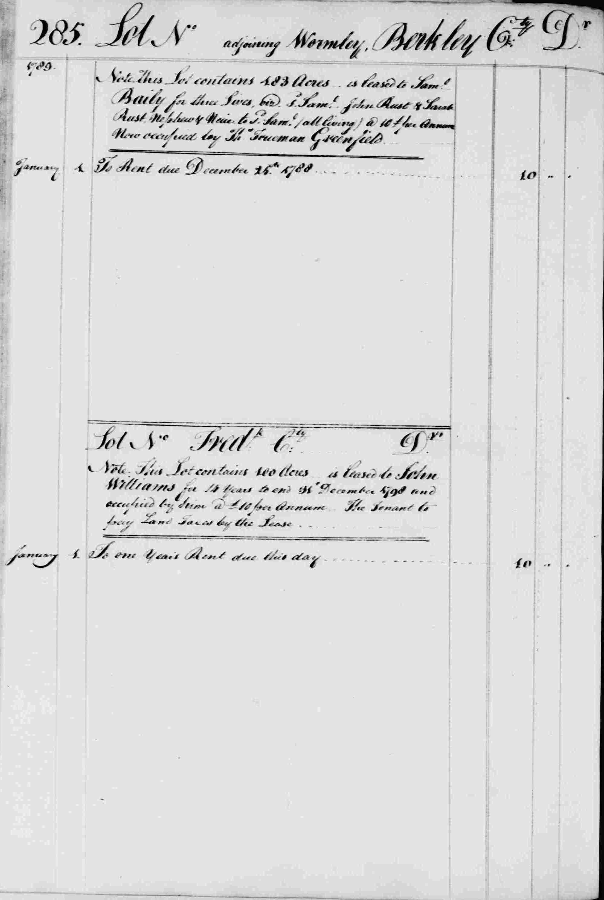 Ledger B, folio 285, left side