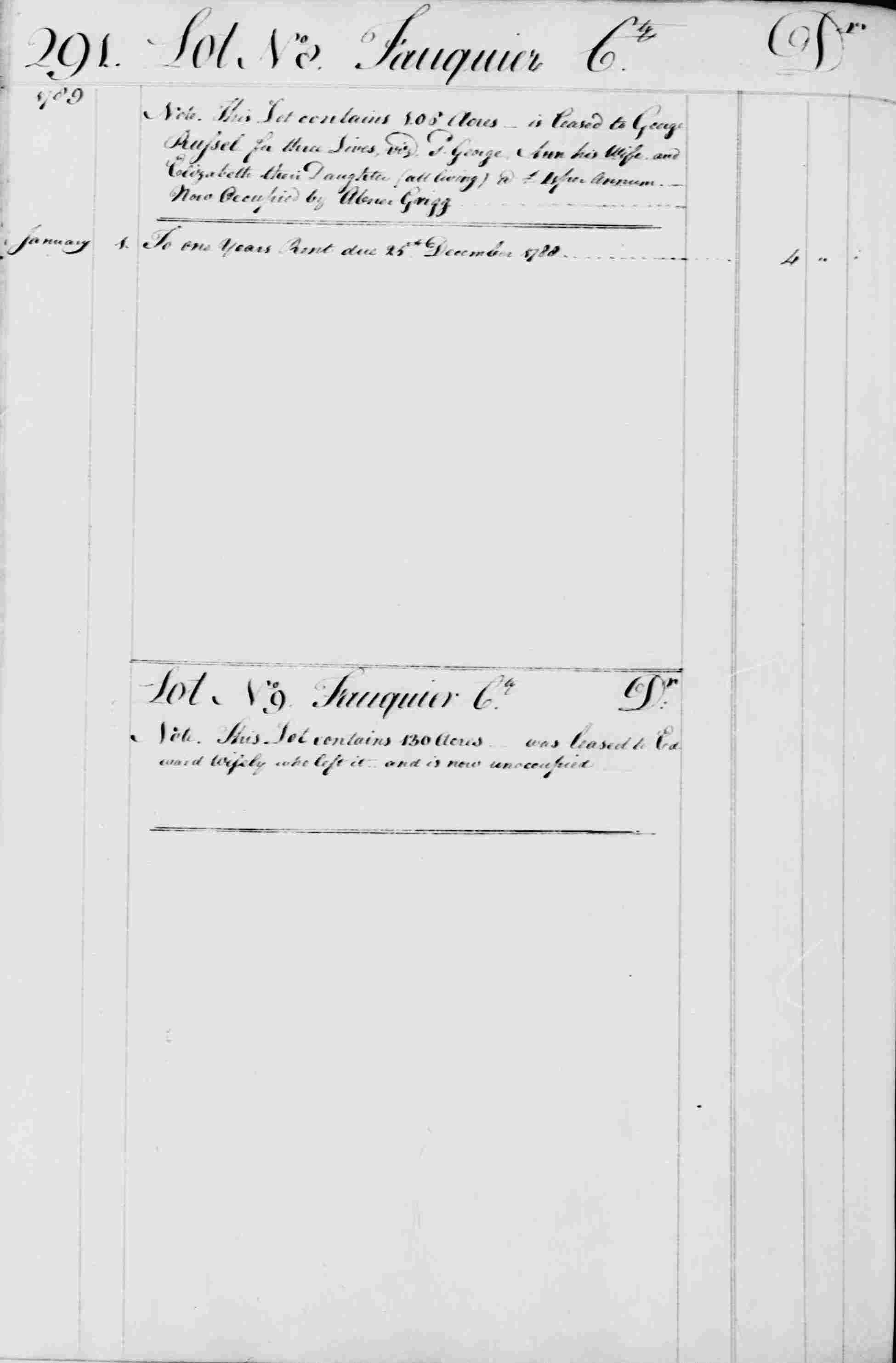 Ledger B, folio 291, left side