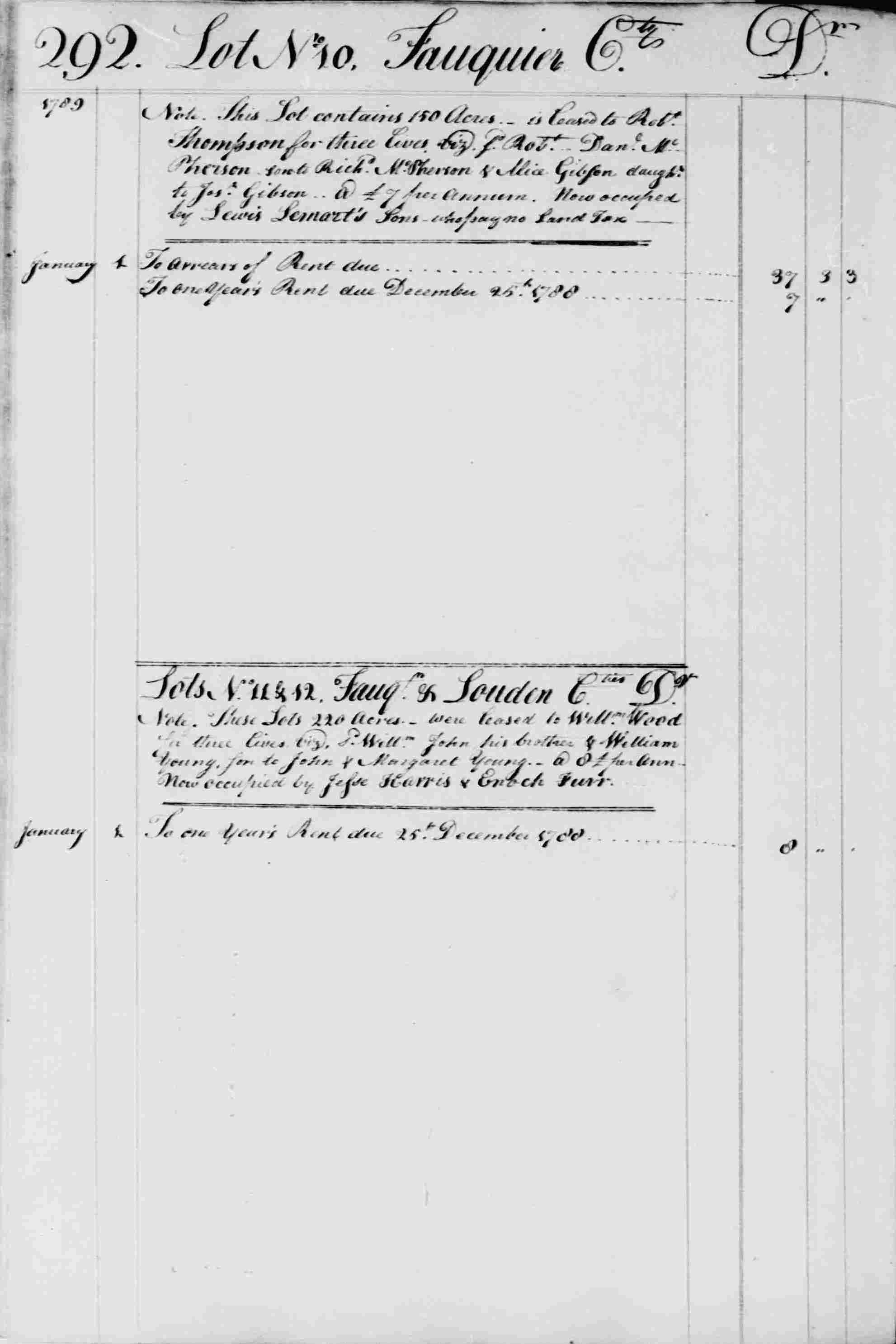 Ledger B, folio 292, left side