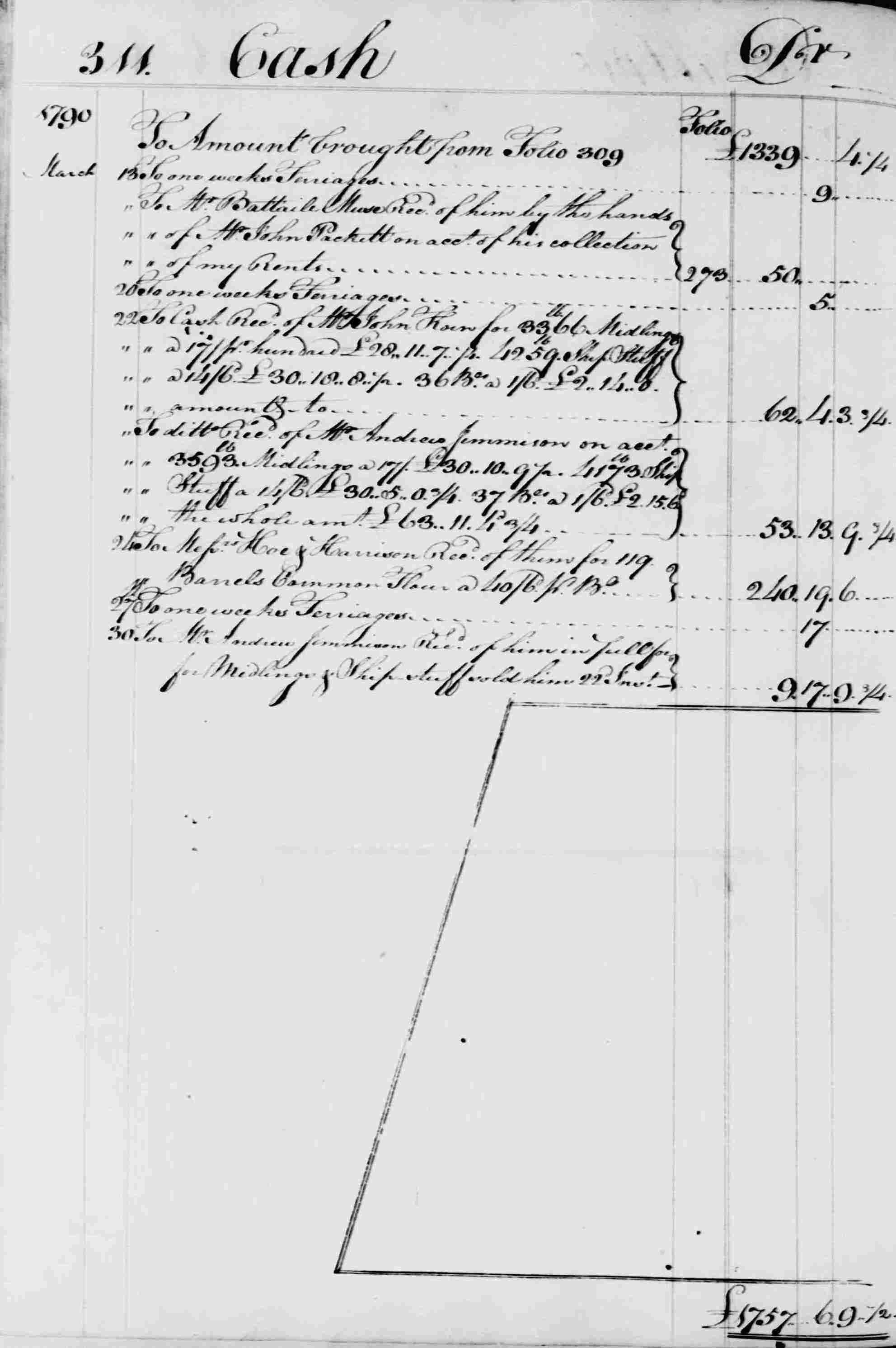 Ledger B, folio 311, left side