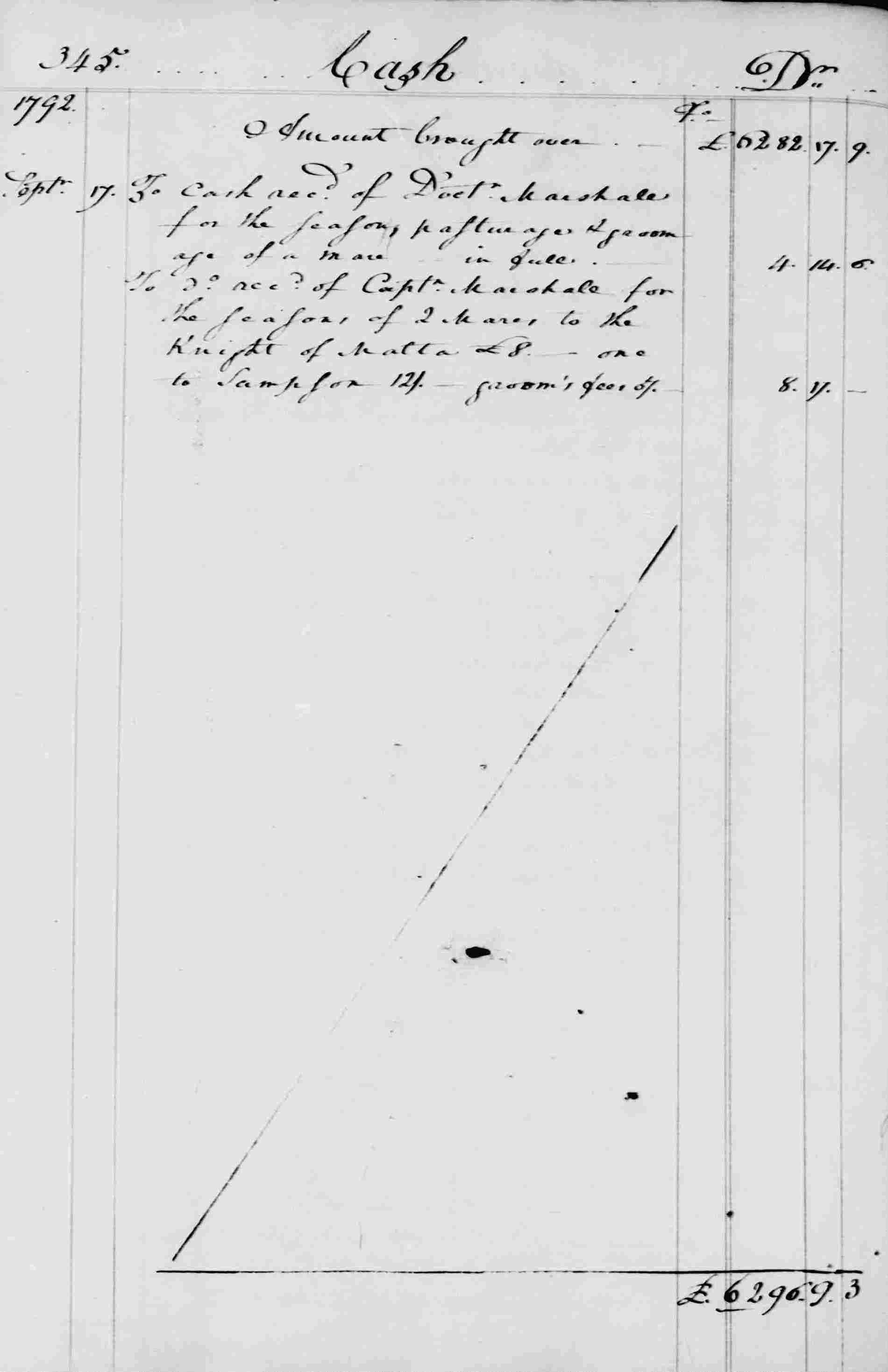 Ledger B, folio 345, left side