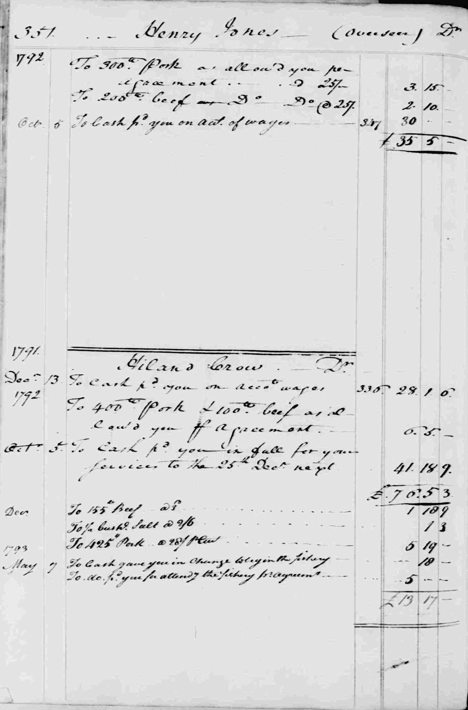 Ledger B, folio 351, left side