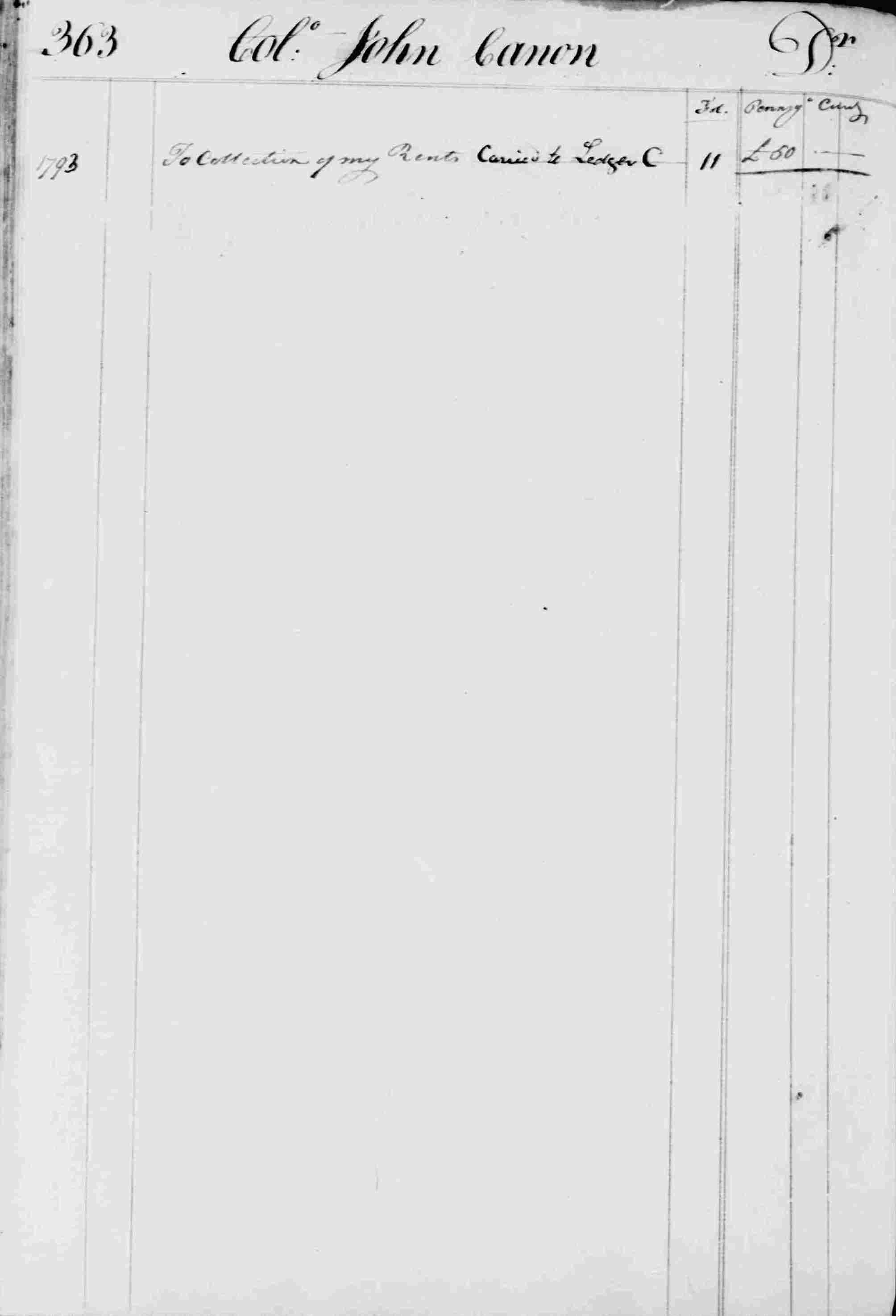 Ledger B, folio 363, left side