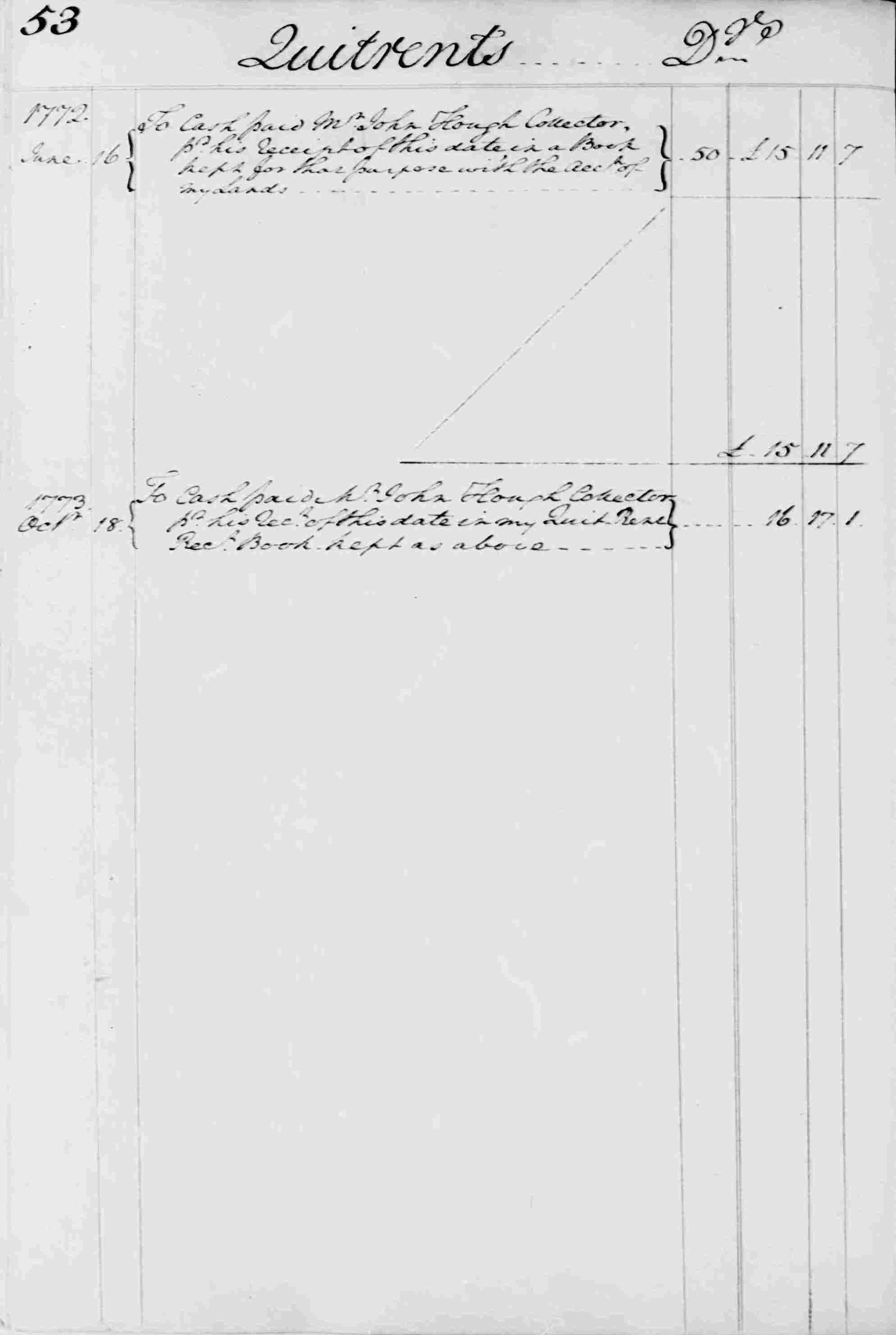 Ledger B, folio 53, left side