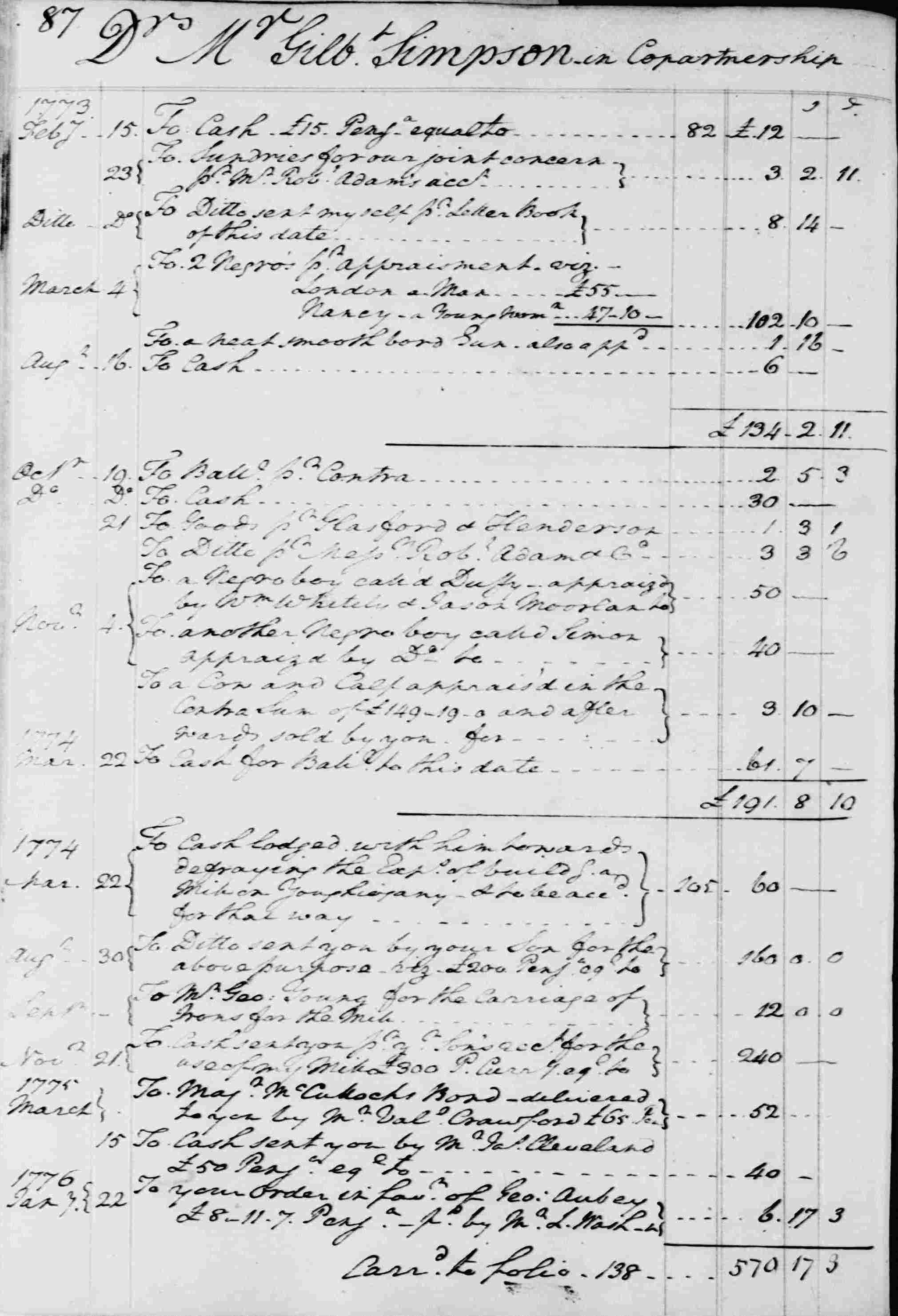 Ledger B, folio 87, left side