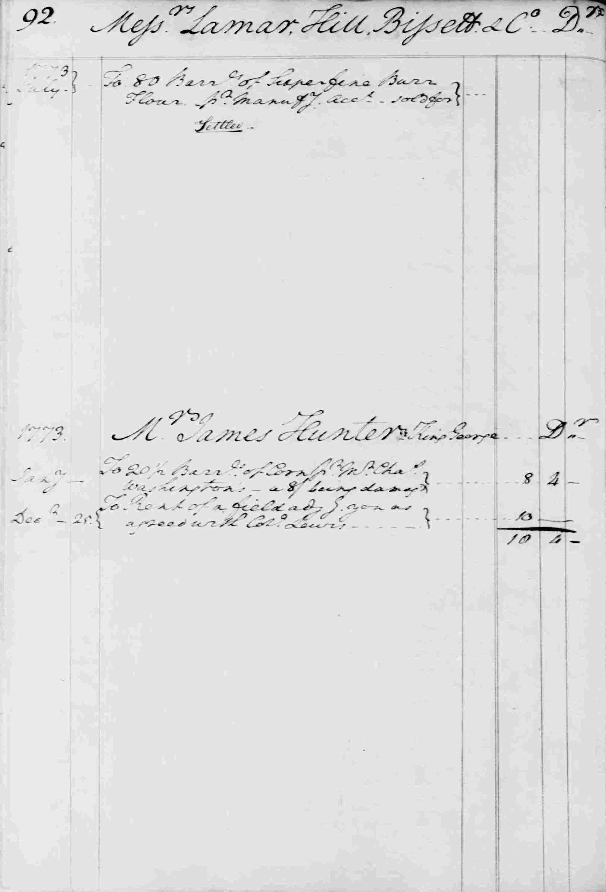 Ledger B, folio 92, left side