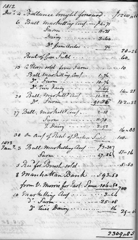 Gouverneur Morris Cash Book, folio 14, left side
