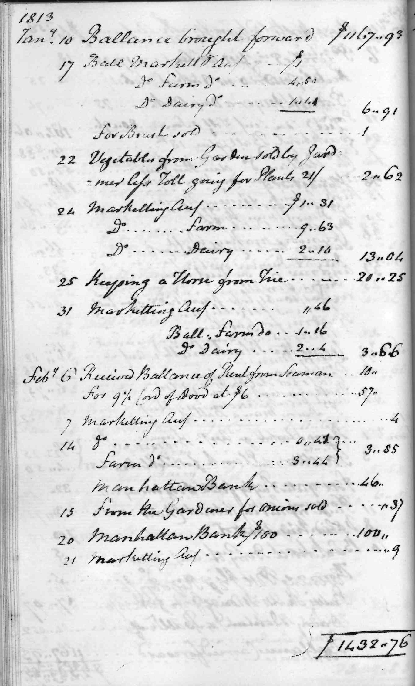 Gouverneur Morris Cash Book, folio 15, left side