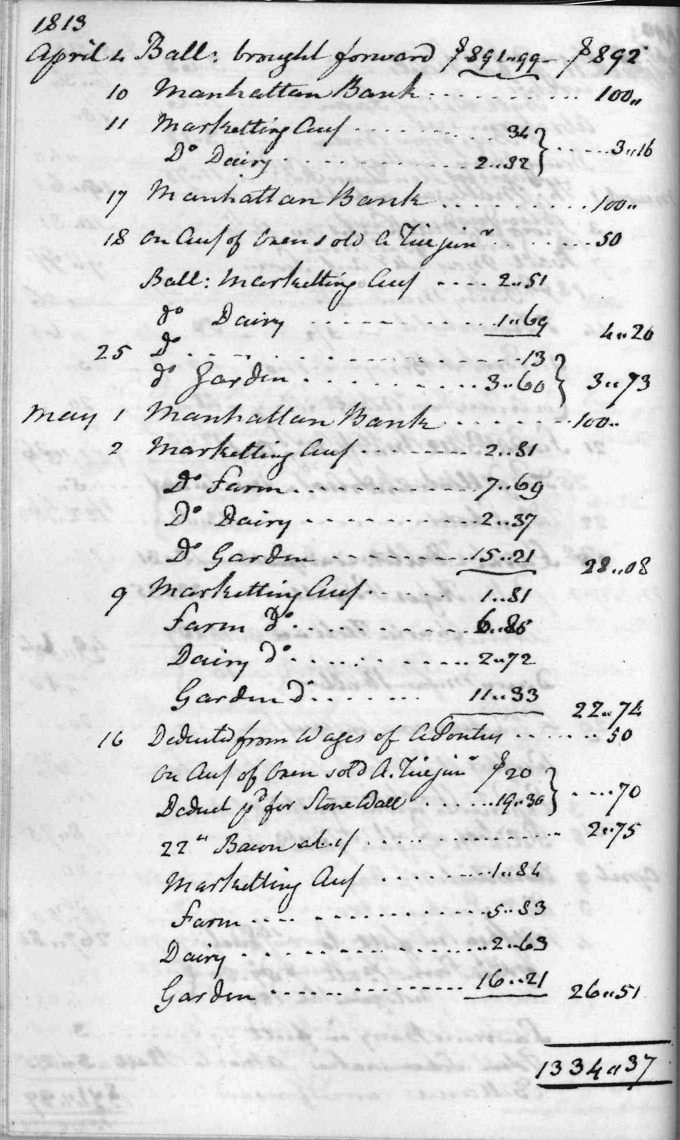 Gouverneur Morris Cash Book, folio 17, left side
