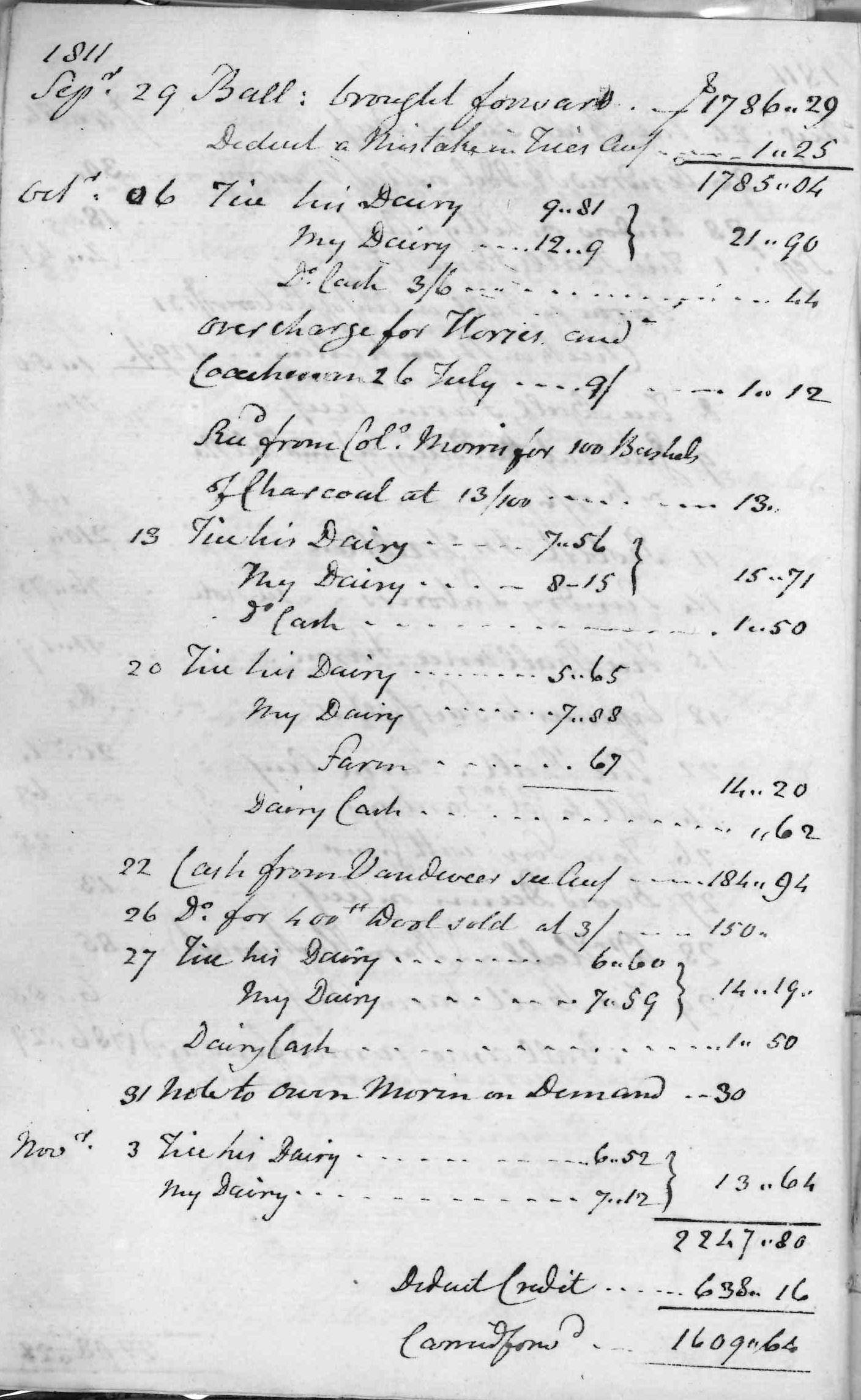 Gouverneur Morris Cash Book, folio 2, left side
