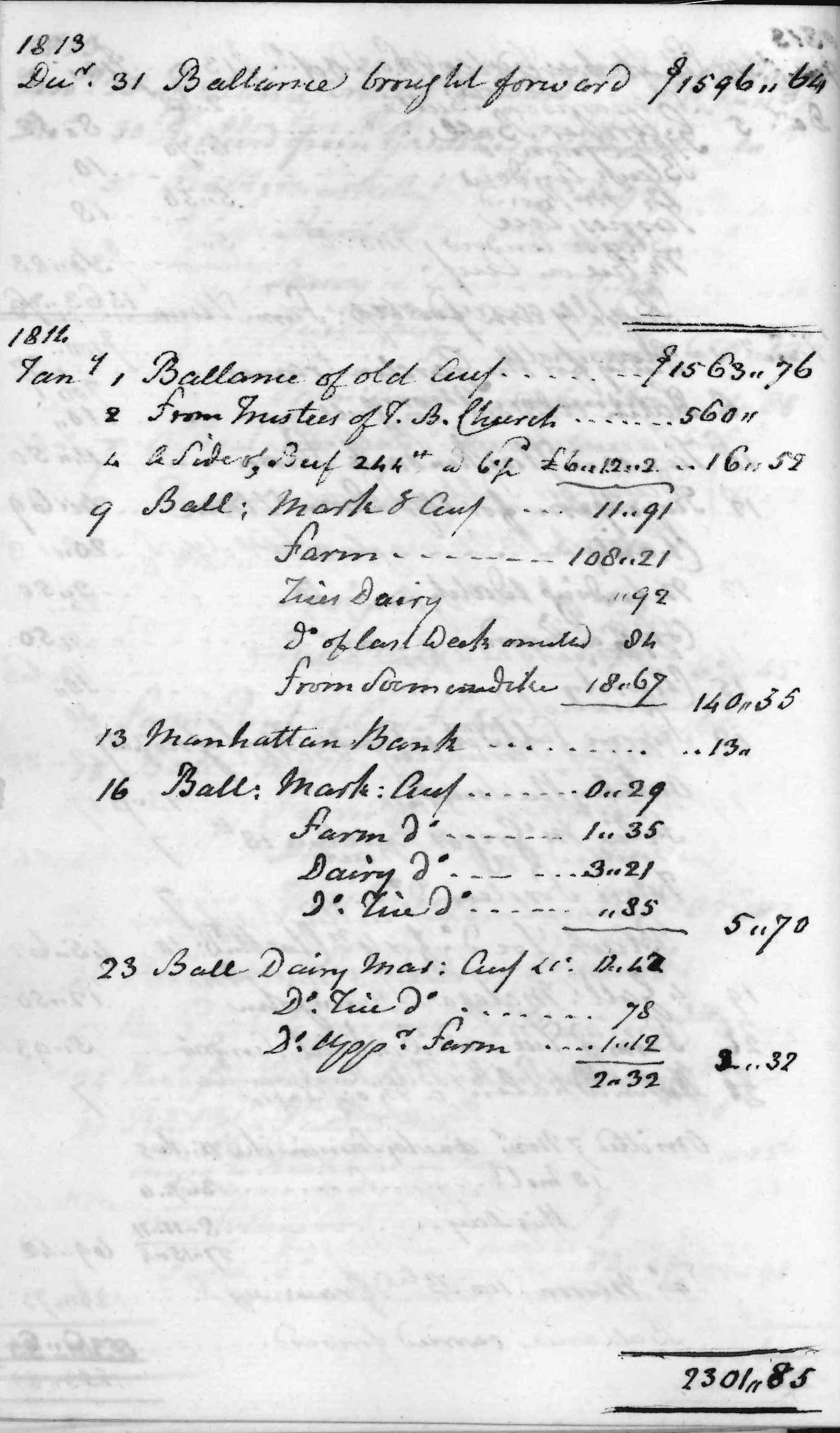 Gouverneur Morris Cash Book, folio 26, left side