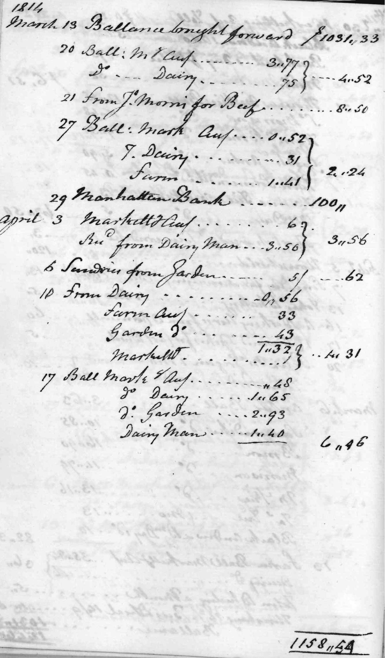Gouverneur Morris Cash Book, folio 28, left side