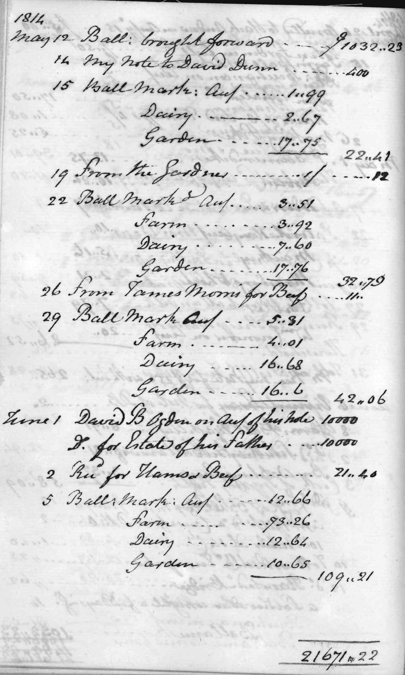 Gouverneur Morris Cash Book, folio 30, left side