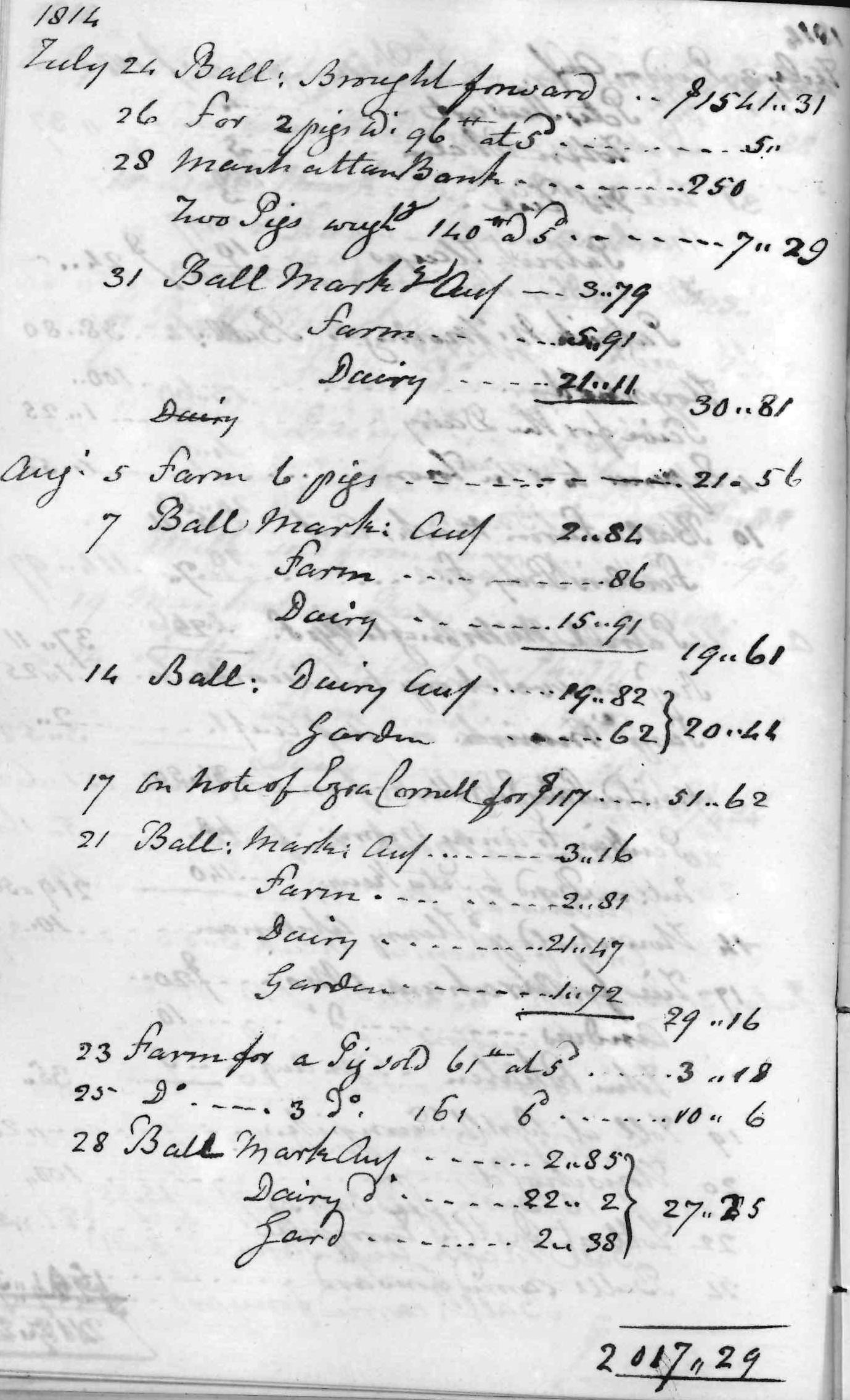 Gouverneur Morris Cash Book, folio 33, left side