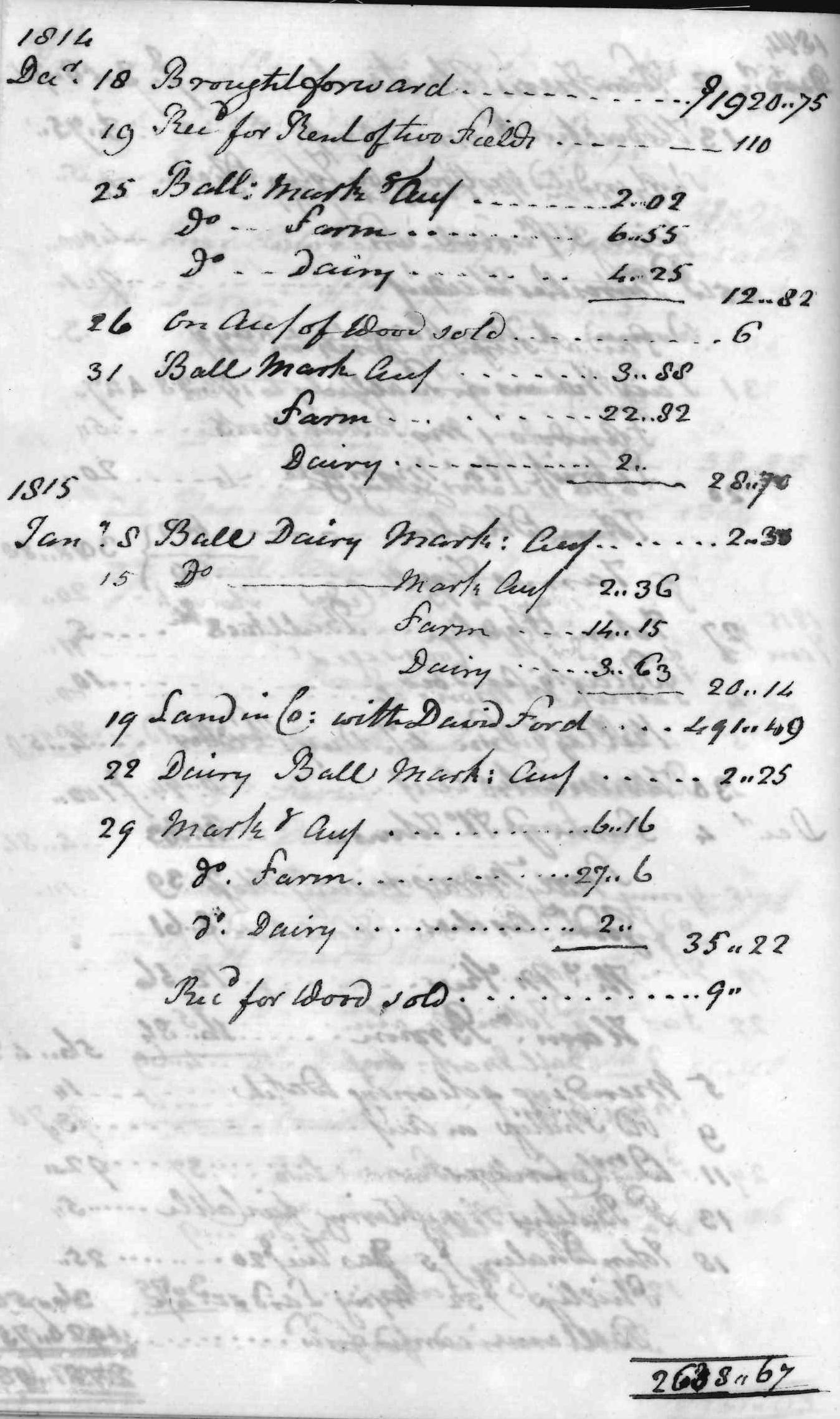 Gouverneur Morris Cash Book, folio 37, left side