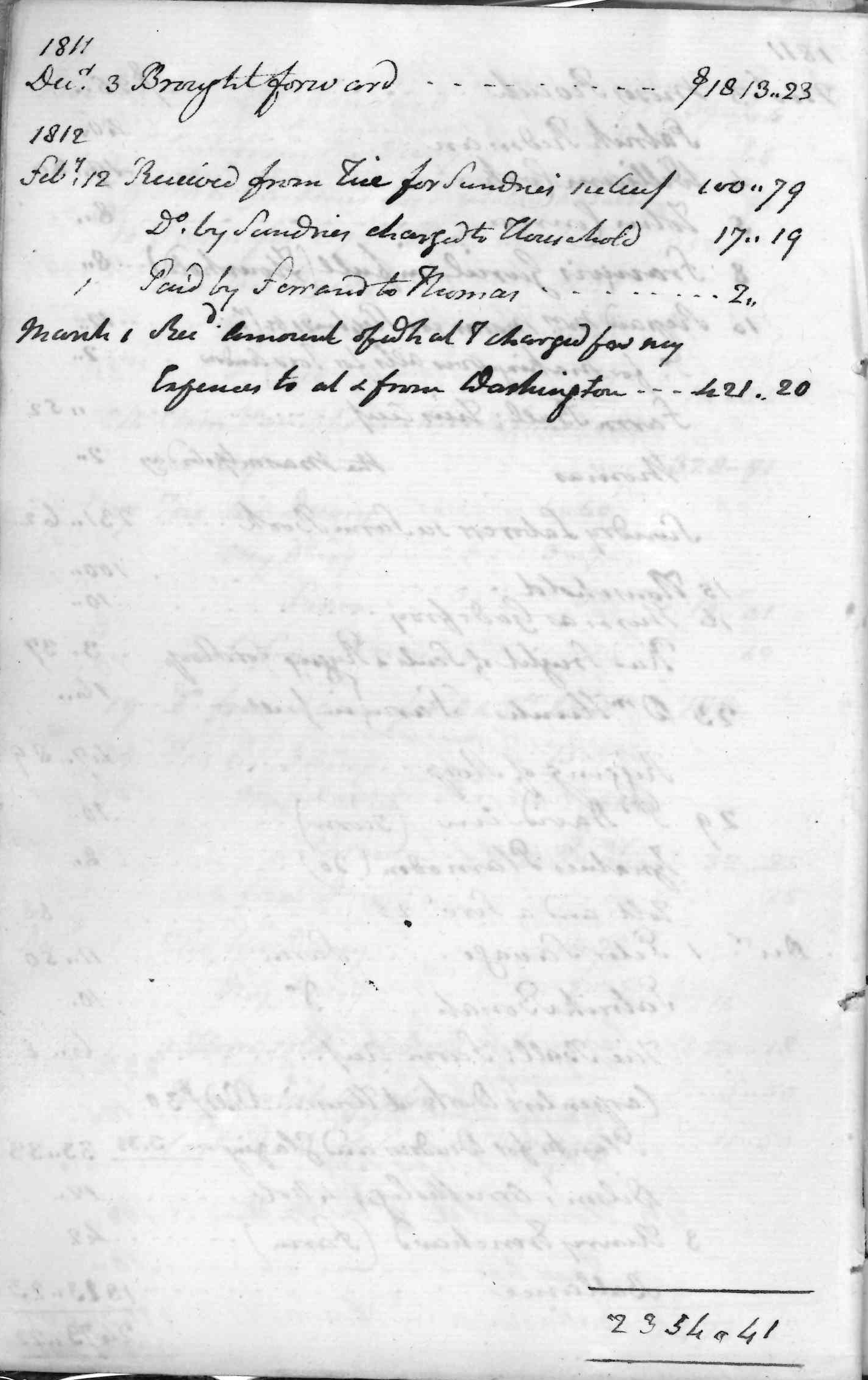 Gouverneur Morris Cash Book, folio 4, left side