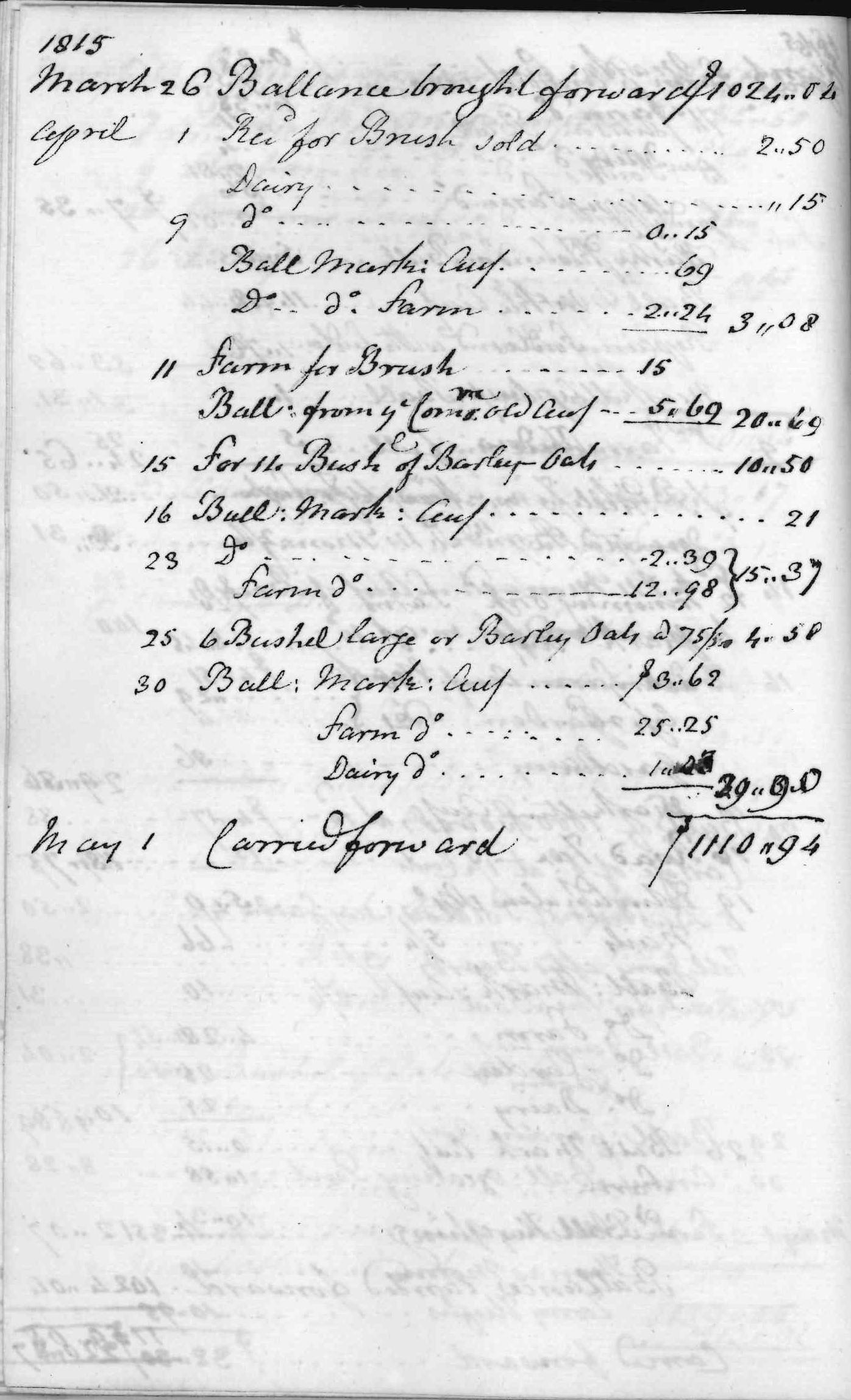 Gouverneur Morris Cash Book, folio 40, left side