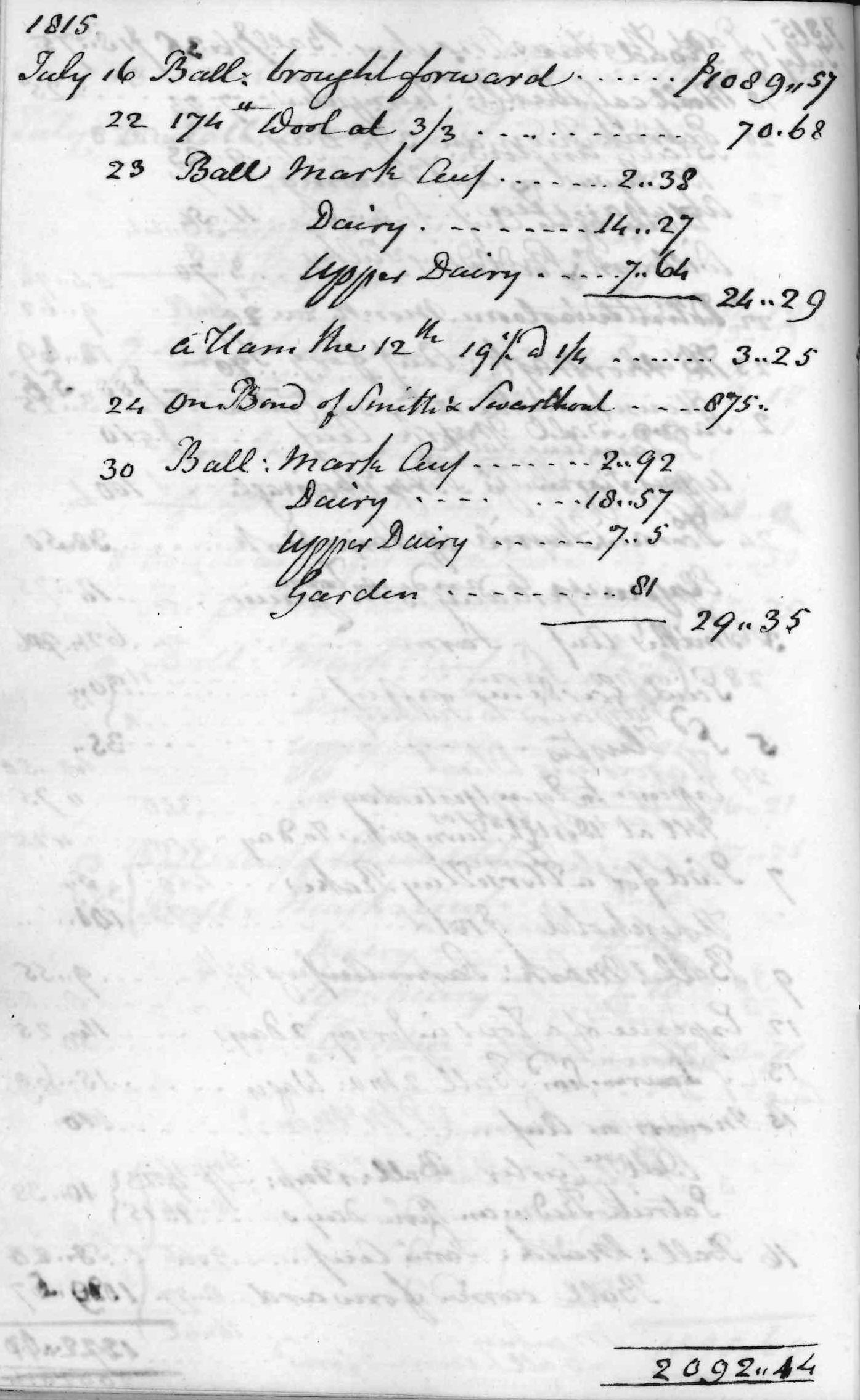 Gouverneur Morris Cash Book, folio 44, left side