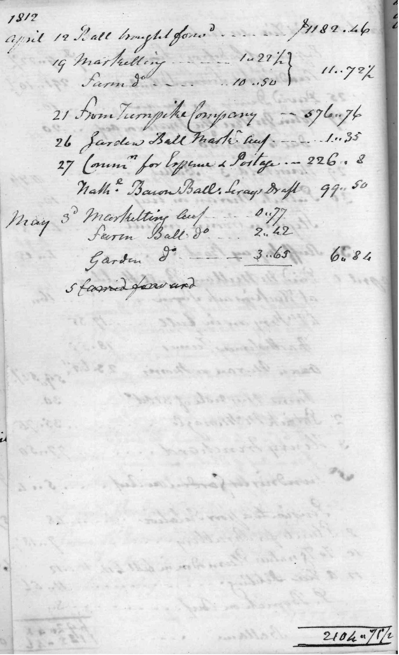 Gouverneur Morris Cash Book, folio 6, left side