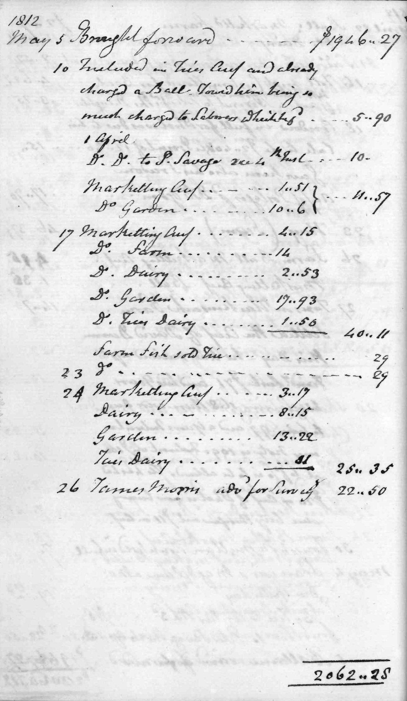 Gouverneur Morris Cash Book, folio 7, left side