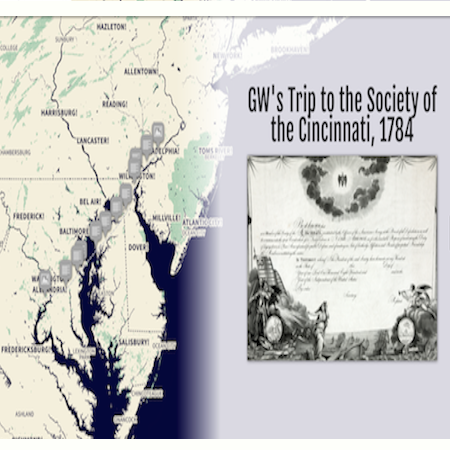 The beginning of the StoryMap JS visualization detailing Washington's trip to the Society of the Cincinnati.